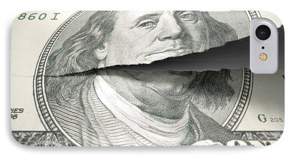 Tearing American Dollar IPhone Case by Allan Swart