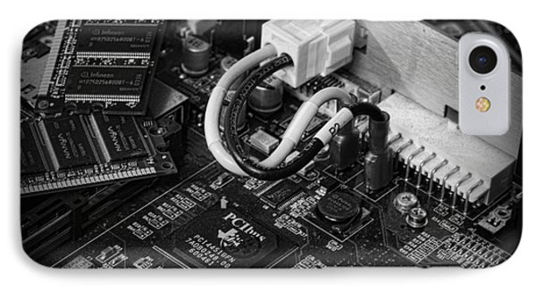 Technology - Motherboard In Black And White Phone Case by Paul Ward