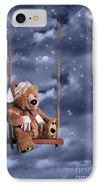 Teddy Bear In Night Sky IPhone Case by Amanda Elwell