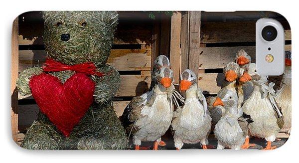 Teddy Bear With Flock Of Stuffed Ducks Phone Case by Imran Ahmed