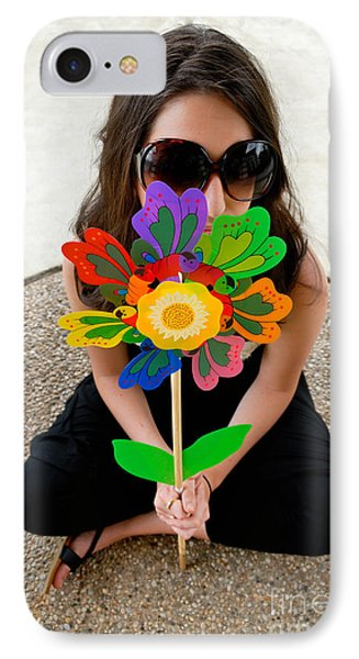 Teenage Girl Hiding Behind Toy Flower Phone Case by Amy Cicconi