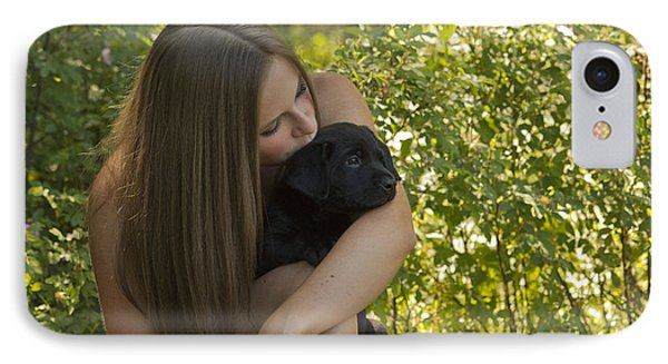 Teenage Girl With Chocolate Labrador IPhone Case by Linda Freshwaters Arndt