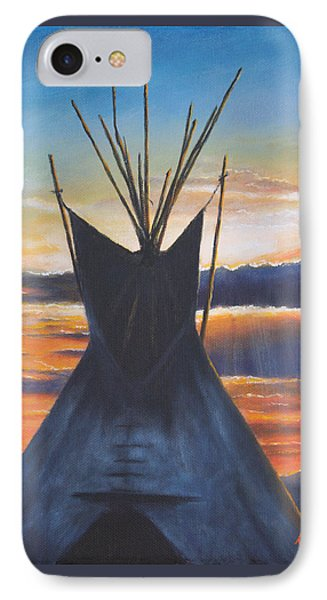 IPhone Case featuring the painting Teepee At Sunset Part 1 by Kim Lockman