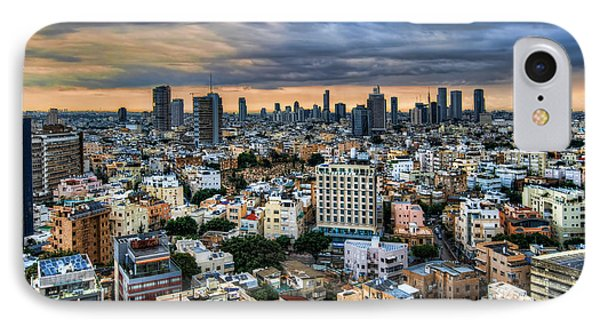 IPhone Case featuring the photograph Tel Aviv Skyline Winter Time by Ron Shoshani