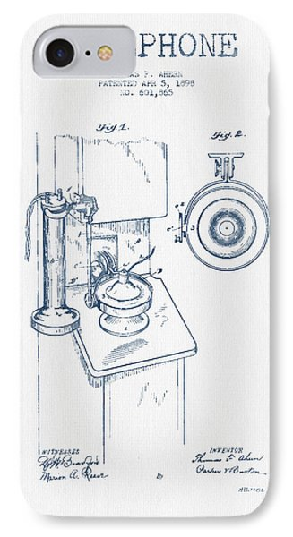 Telephone Patent Drawing From 1898  - Blue Ink IPhone Case by Aged Pixel