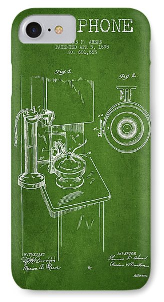 Telephone Patent Drawing From 1898 - Green IPhone Case by Aged Pixel
