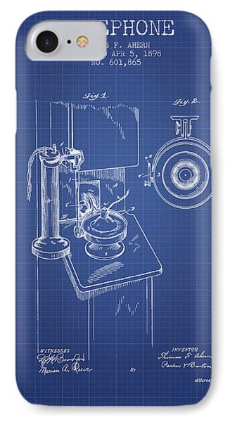 Telephone Patent From 1898 - Blueprint IPhone Case by Aged Pixel