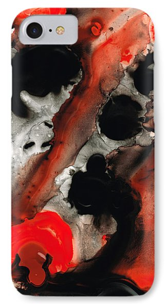 Tempest - Red And Black Painting IPhone Case by Sharon Cummings