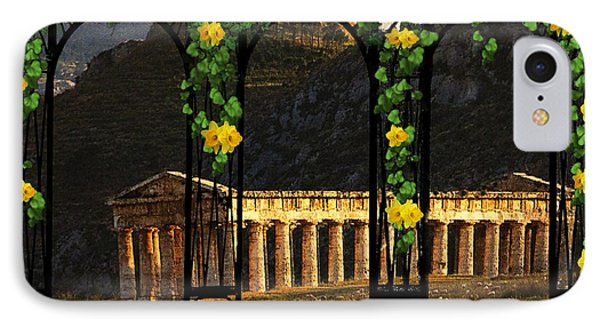 IPhone Case featuring the digital art Temple Of Neptune - Italy by Michael Rucker