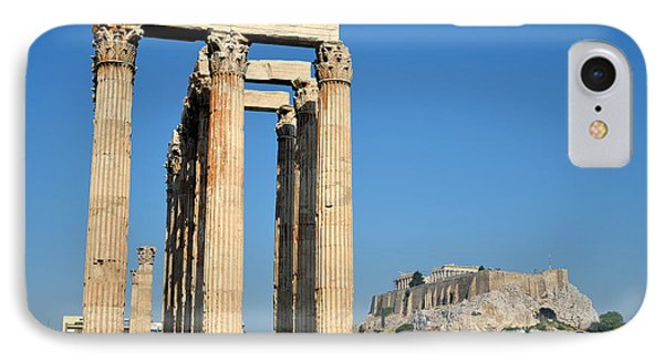 Temple Of Olympian Zeus And Acropolis In Athens Phone Case by George Atsametakis