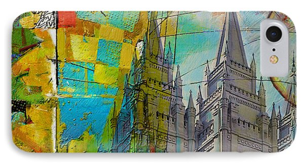 Temple Square At Salt Lake City IPhone Case by Corporate Art Task Force