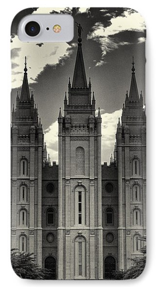 Temple Square Black And White IPhone Case by Joshua House