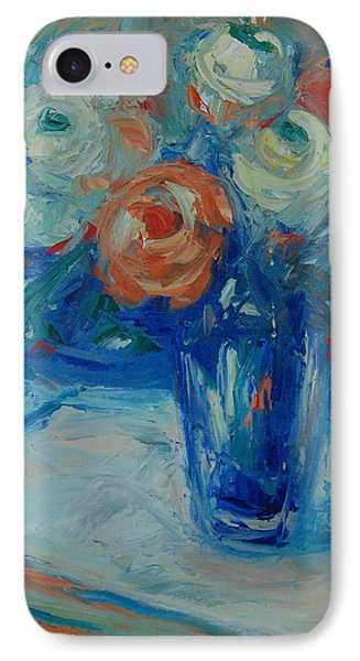 IPhone Case featuring the painting Ten White And Orange Roses by Thomas Bertram POOLE