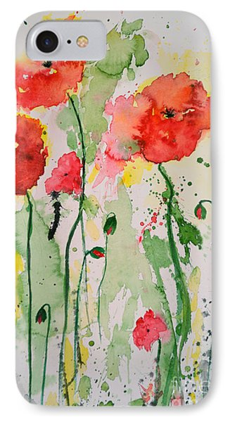 IPhone Case featuring the painting Tender Poppies - Flower by Ismeta Gruenwald