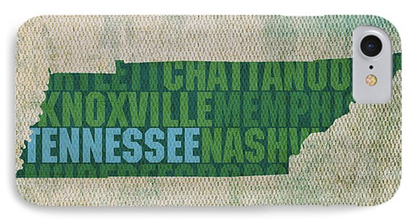 Tennessee Word Art State Map On Canvas Phone Case by Design Turnpike