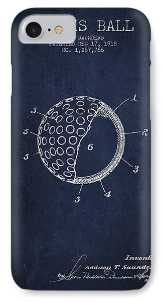 Tennis Ball Patent From 1918 - Navy Blue IPhone Case