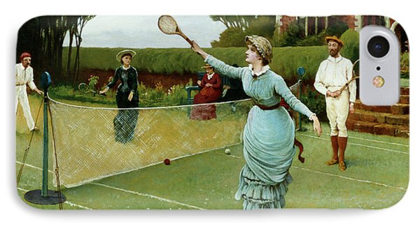 Tennis Players, 1885 IPhone Case by Horace Henry Cauty