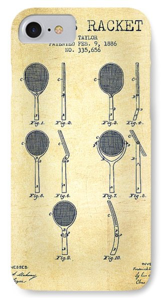 Tennis Racket Patent From 1886 - Vintage IPhone Case