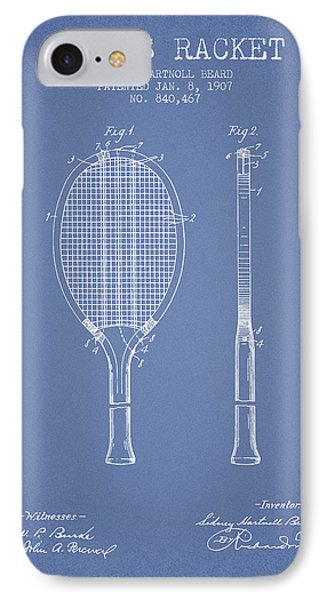 Tennis Racket Patent From 1907 - Light Blue IPhone Case