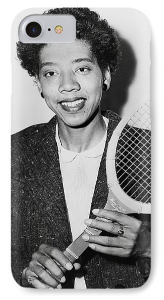 Tennis Star Althea Gibson IPhone Case by Fred Palumbo