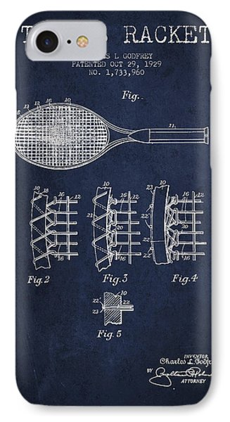 Tennnis Racket Patent Drawing From 1929 IPhone 7 Case by Aged Pixel