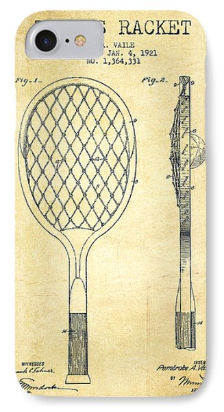 Tennnis Racketl Patent Drawing From 1921 - Vintage IPhone Case by Aged Pixel