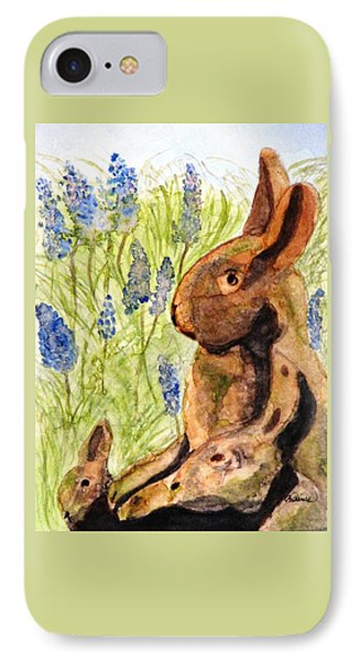 IPhone Case featuring the painting Terra Cotta Bunny Family by Angela Davies