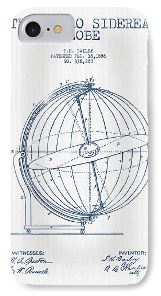 Terrestro Sidereal Globe Patent Drawing From 1886- Blue Ink IPhone Case