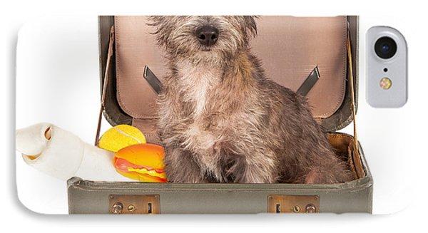 Terrier Dog In Suitcase Phone Case by Susan Schmitz