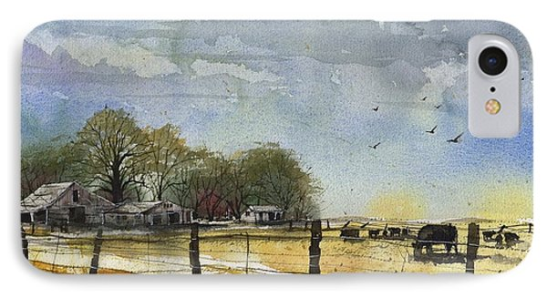 IPhone Case featuring the painting Terry County Rancho by Tim Oliver