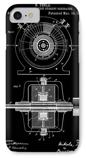Tesla Alternating Electric Current Generator Patent 1891 - Black IPhone Case by Stephen Younts