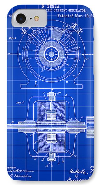 Tesla Alternating Electric Current Generator Patent 1891 - Blue IPhone Case by Stephen Younts