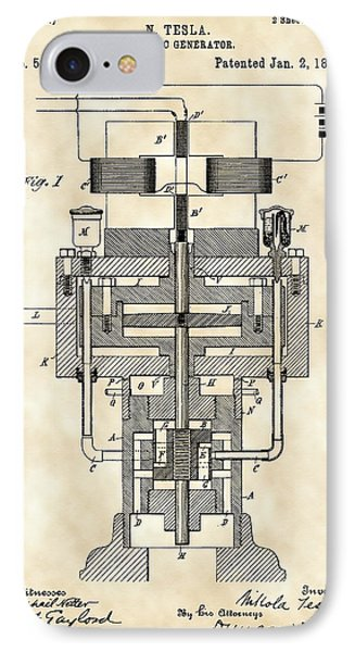 Tesla Electric Generator Patent 1894 - Vintage IPhone Case by Stephen Younts