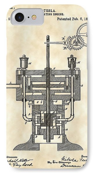 Tesla Reciprocating Engine Patent 1894 - Vintage IPhone Case by Stephen Younts
