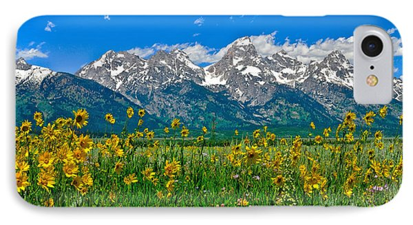 Teton Peaks And Flowers IPhone Case by Greg Norrell