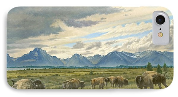 Tetons-buffalo  IPhone Case by Paul Krapf