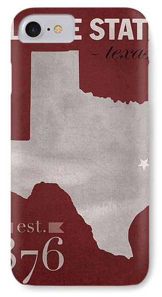 Texas A And M University Aggies College Station College Town State Map Poster Series No 106 IPhone Case by Design Turnpike