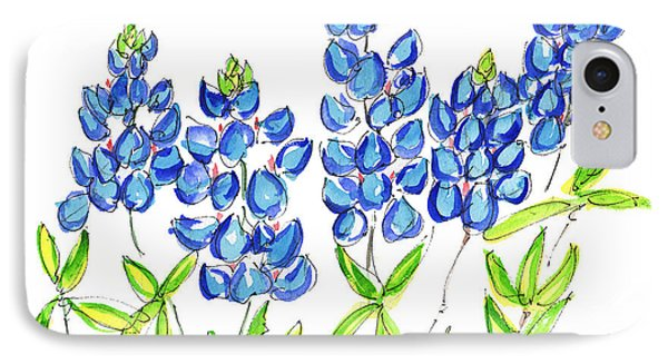 Texas Bluebonnets Watercolor Painting By Kmcelwaine IPhone Case by Kathleen McElwaine