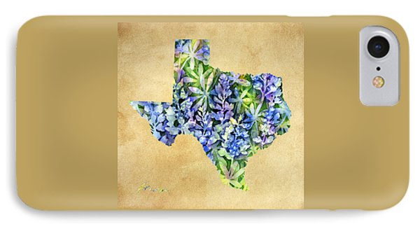 Texas Blues Texas Map IPhone Case by Hailey E Herrera