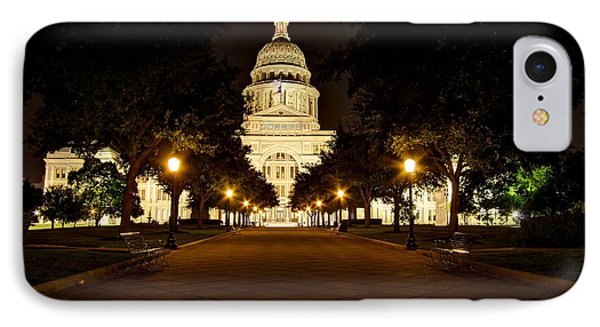 IPhone Case featuring the photograph Texas Capitol At Night by Dave Files