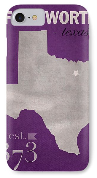 Texas Christian University Tcu Horned Frogs Fort Worth College Town State Map Poster Series No 107 IPhone Case