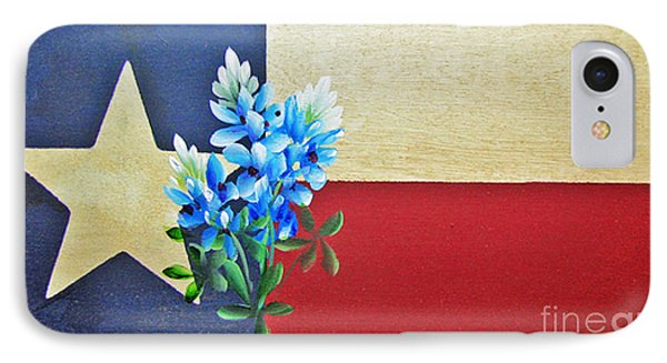 IPhone Case featuring the painting Texas Flag With Bluebonnets by Jimmie Bartlett