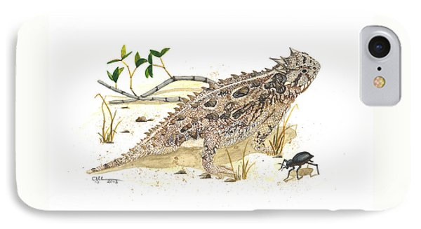 Texas Horned Lizard IPhone Case by Cindy Hitchcock