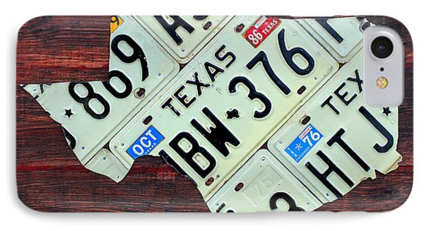 Texas License Plate Map The Lone Star State On Fruitwood IPhone Case by Design Turnpike