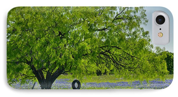 IPhone Case featuring the photograph Texas Life - Bluebonnet Wildflowers Landscape Tire Swing by Jon Holiday