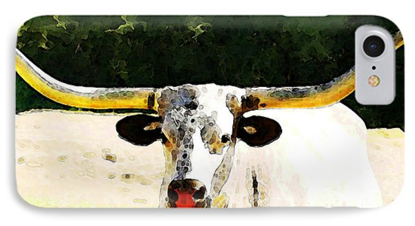 Texas Longhorn - Bull Cow IPhone Case by Sharon Cummings