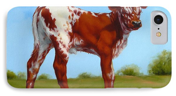 Texas Longhorn New Calf IPhone Case by Margaret Stockdale