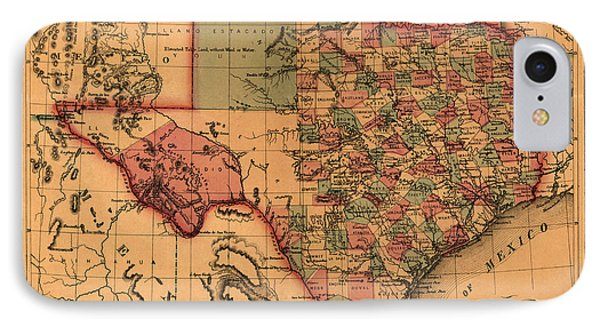 Texas Map Art - Vintage Antique Map Of Texas IPhone Case by World Art Prints And Designs