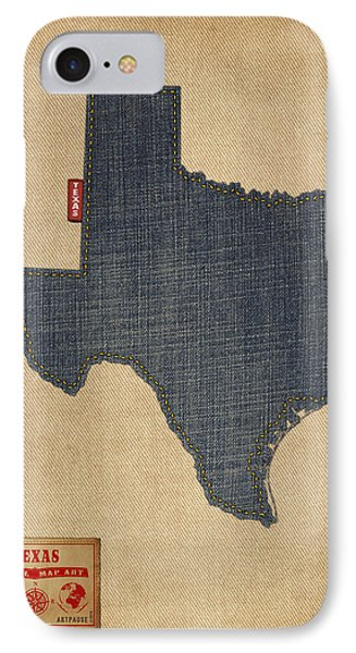Dallas iPhone 7 Case - Texas Map Denim Jeans Style by Michael Tompsett