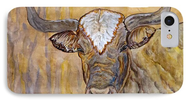 IPhone Case featuring the painting Texas O Texas Longhorn by Ella Kaye Dickey